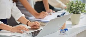 Checking data on laptop
